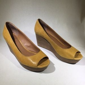 Lucky Brand Leather Peep Toe Wedges, Size 10